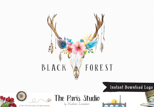 DIY Instant Download Logo Template Antler Floral Logo C