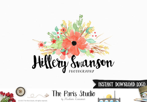 Instant Download Logo PSD Watercolor Floral Logo Template