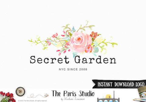 Instant Download Logo Photoshop Logo Template Watercolor Floral Logo