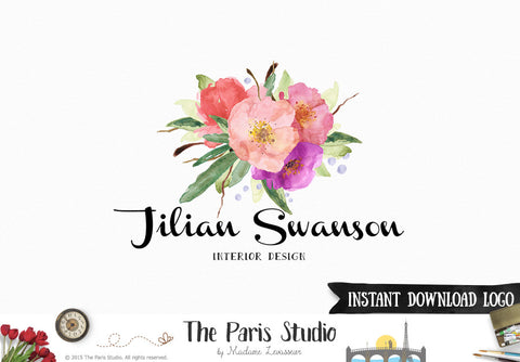 DIY Instant Download Logo PSD Watercolor Floral Logo Template