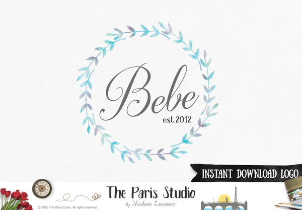 Instant Download Watercolor Wreath Logo Photoshop Logo Template