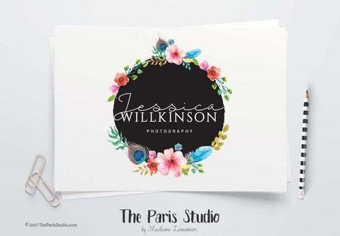 Instant Download PSD Logo Floral Wreath Photoshop Logo