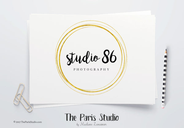 Instant Download Gold Foil Circle Logo Photoshop Logo Template