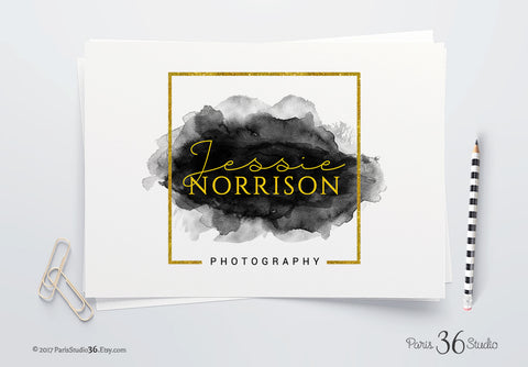 Instant Download Watercolor Square Logo Gold Foil Photoshop Logo Template