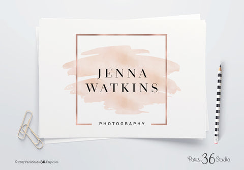 Instant Download Watercolor Square Logo Photoshop Logo Template
