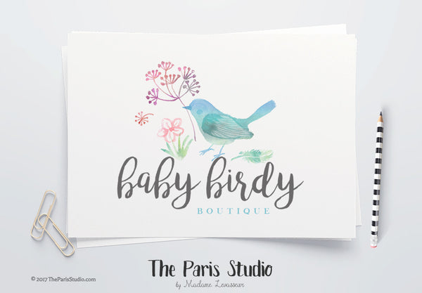 DIY Instant Download Watercolor Floral Bird Logo Photoshop Logo Template