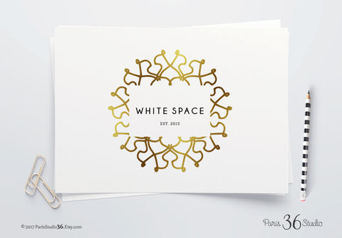 DIY Instant Download Logo PSD Gold Foil Mandala Logo Template