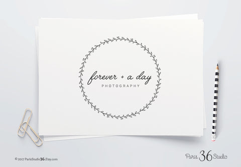 DIY Instant Download Hand Drawn Wreath Logo Photoshop (Vector) Logo
