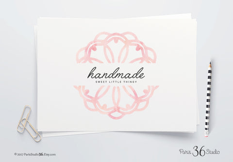 DIY Instant Download PSD Logo Hand Drawn Watercolor Mandala Logo Design