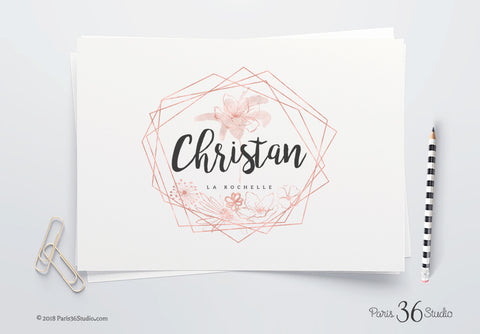 DIY Instant Download Floral Gold Foil Watercolor Logo Design - Photoshop Logo Template