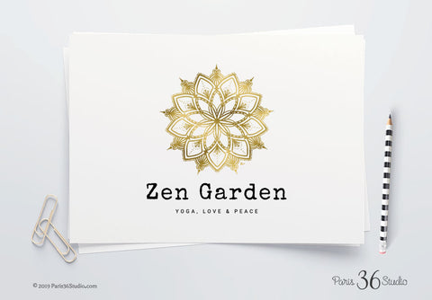 DIY Instant Download Mandala Gold Foil Hand Drawn Logo Design - Photoshop Logo Template