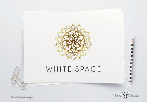 DIY Instant Download Hand Drawn Mandala Gold Foil Logo Design - Photoshop Logo Template