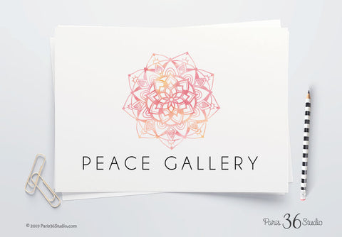 DIY Instant Download Logo PSD Watercolor Mandala Hand Drawn Logo Design