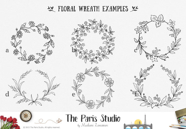 Hand Drawn Leafy Wreath Logo Design - DIY Instant Logo Design