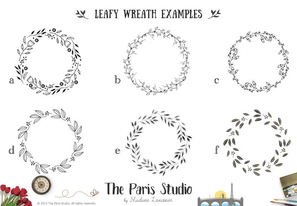 Hand Drawn Wreath Floral Logo Design Pay As You Go Custom Logo Design
