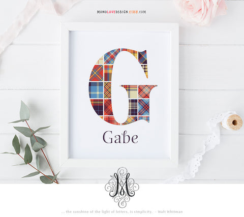 Printable Patterned Monogram Letter Design
