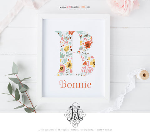Printable Floral Monogram Letter Design