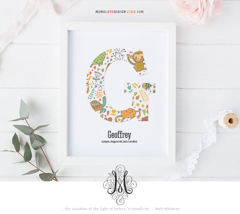Printable Nursery Art Baby Monogram Letter Design