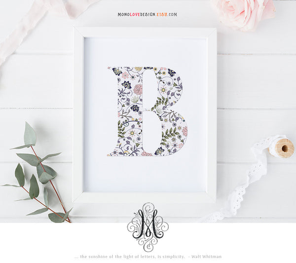 Printable Floral Patterned Monogram Letter Design
