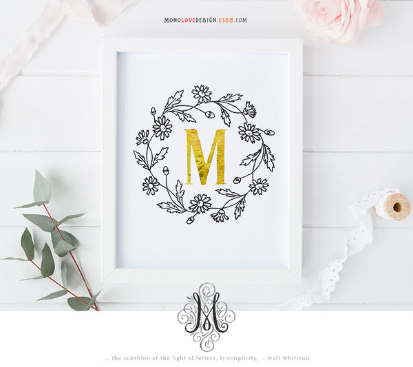 Instant Wall Art: Floral Wreath Monogram Design