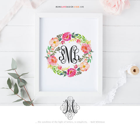 Printable Floral Wreath Wedding Monogram Design
