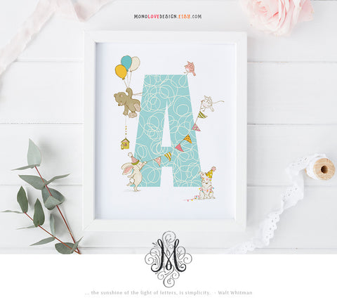Printable Baby Nursery Art Monogram Design
