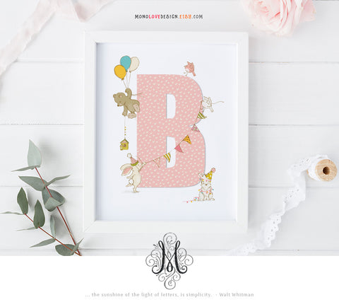 Instant Download Wall Art: Baby Nursery Art Monogram Design