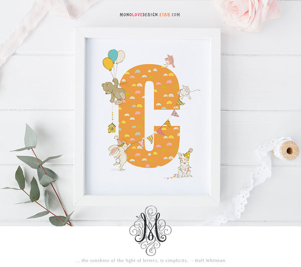 Printable Wall Art: Baby Nursery Art Monogram Design