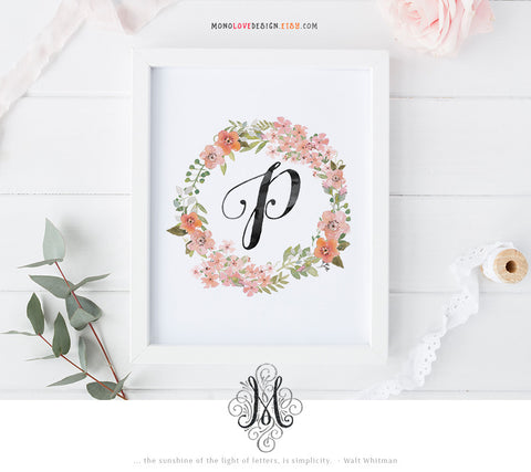 Printable Wall Art: Watercolor Wreath Monogram Design