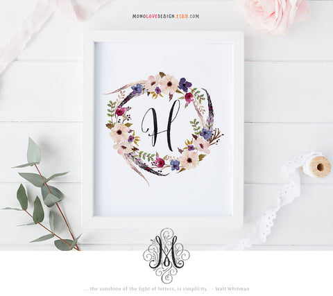 Printable Watercolor Floral Wreath Monogram Design