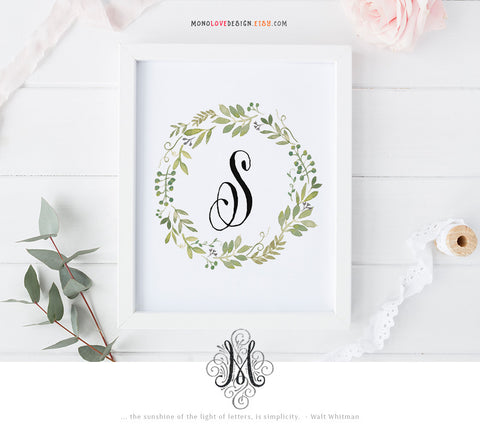 Instant Download Printable Watercolor Floral Monogram Design