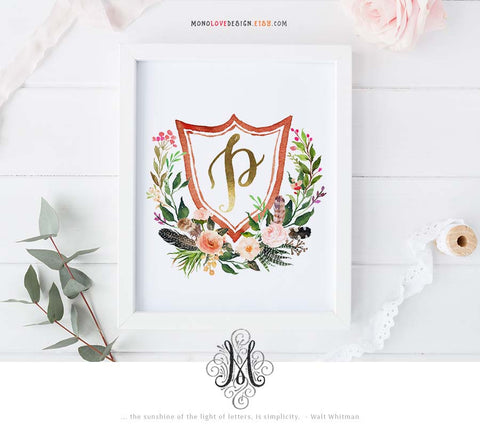 Watercolor Floral Wreath Monogram Design