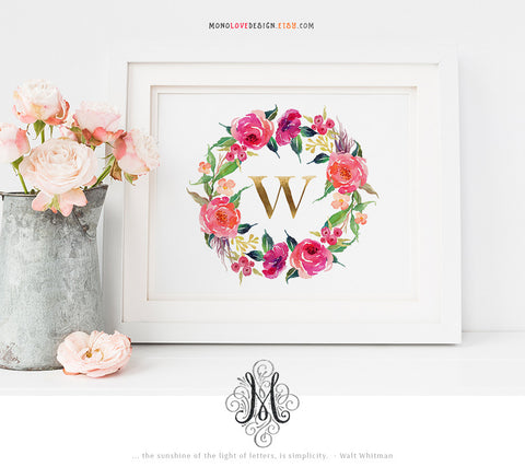 Instant Wall Art: Watercolor Wreath Monogram Design