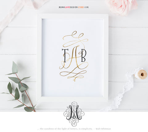 Instant Download Wall Art: Typographic Wedding Monogram Design