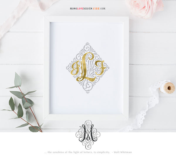 Printable Wall Art: Typographic Wedding Monogram Design