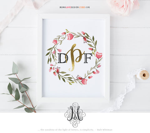 Printable Wall Art: Watercolor Wedding Monogram Design