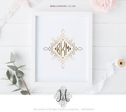 Printable Typographic Wedding Monogram Design