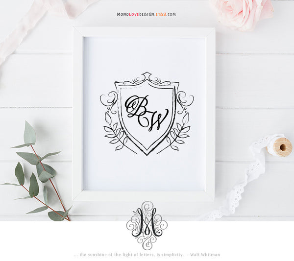 Printable Floral Wedding Crest Monogram Design