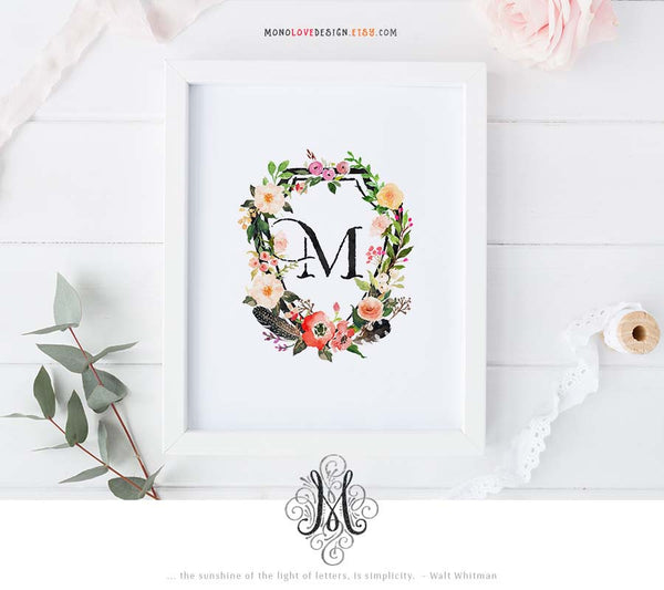 Printable Watercolor Floral Wedding Monogram Design