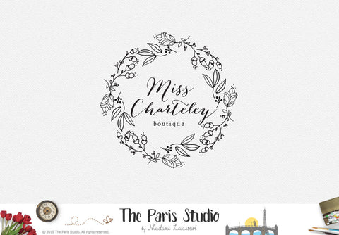 Hand Drawn Wreath Logo Design - DIY Instant Logo Design
