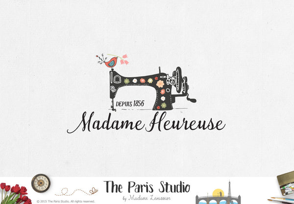 Vintage Sewing Machine Logo with Florals and Birds