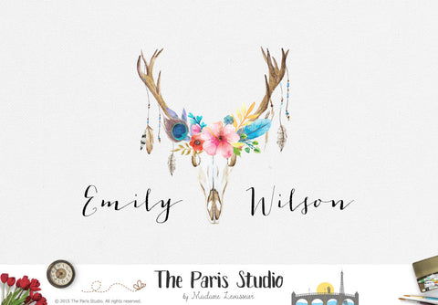 Watercolor Floral Antler Logo DIY Instant Logo Design