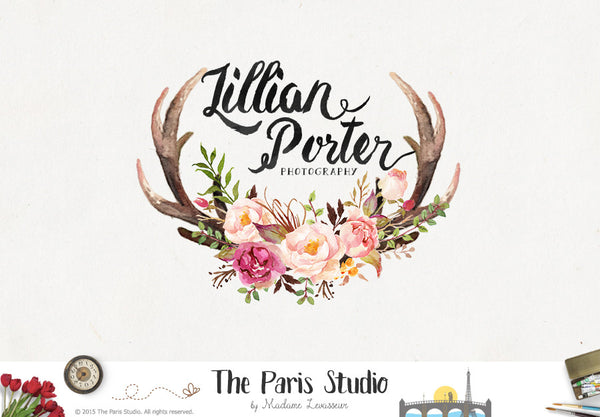 Watercolor Floral Antler Logo Design