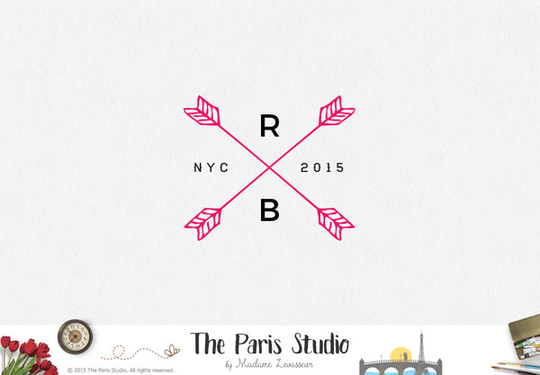 Monogram Arrow Wedding Logo Design