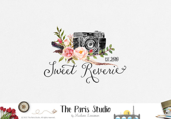 Watercolor Camera Logo Design Photographer Branding