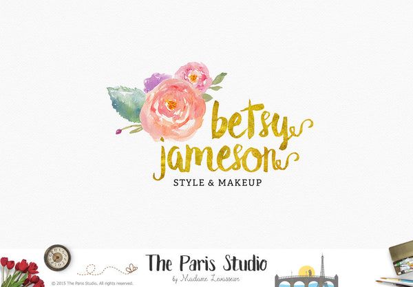 Watercolor Floral Logo Design for stylist