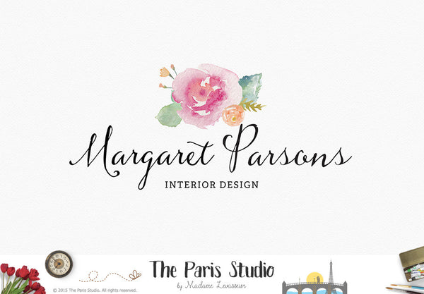 Watercolor Floral Logo Design Creative Professional Branding