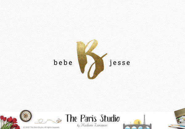 Typographic Gold Foil Monogram Logo Design