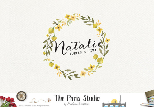 Watercolor Floral Wreath Logo Design