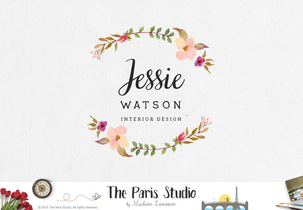 Watercolor Floral Wreath Logo Design for creative professionals